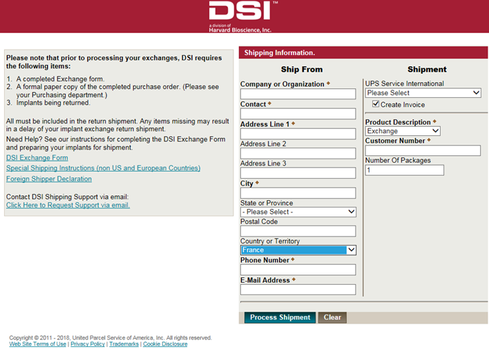 DSI Return Shipment Portal Instructions for European